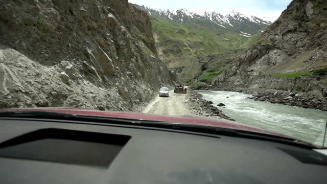 Dangerous mountain road in Tajikistan.