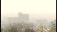Dangerous pollution levels across Britain GVs of smog over London ENGLAND London Alexandra Palace EXT Wide shot buildings of North London surrounded...