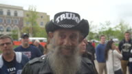 Danny Buechler a Marine Veteran wearing a Trump cowboy hat stands in line to hear 2016 Republican presidential candidate Donald Trump speaks during a...