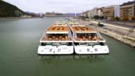 Danube River Cruiser Moored On Pest Embankment