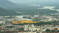 LS HA PAN Danube river winding along Pfennigberg (on left) to industrial area with port, petrochemical and steel plants