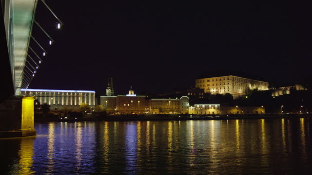 WS Danube River with Linz Castle on hill seen from the northern (Urfahr) bank of the Danube