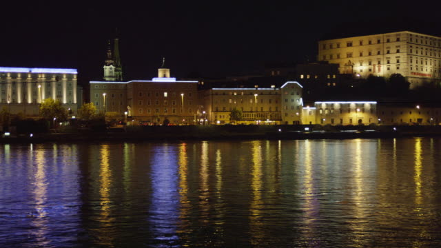 MS PAN Danube River with Linz Castle on hill seen from the northern (Urfahr) bank of the Danube
