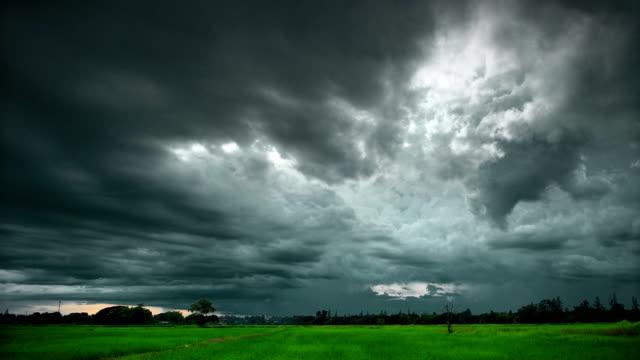 Dunkle Wolken bei Sonnenuntergang (Zeitraffer)