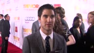 INTERVIEW Darren Criss on what brings him out why the work of the Trevor Project is so important why Jane Lynch is deserving of the honor and...