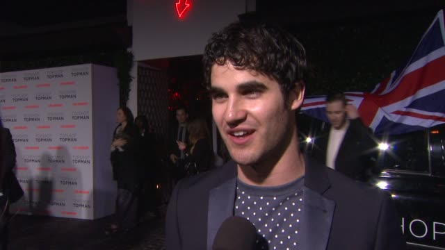 INTERVIEW Darren Criss on why it's great to have Topshop in Los Angeles at Topshop Topman LA Opening Party At Cecconi's on 2/13/2013 in Los Angeles CA