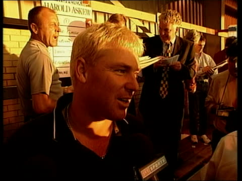 Dickie Bird interviewed SOT I like him because he plays with a smile on his face GV Dogs round track INT Shane Warne interviewed SOT Picked number...