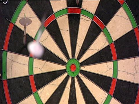 Dart hits bullseye on dartboard 2003 Embassy World Darts Championships Lakeside Frimley Green