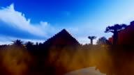Dadelpalmen in oase met piramides