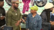 Dave East and Pharrell Williams at Pharrell Williams and GStar RAW Present the New GStar Elwood X25 Prints at TBD on September 13 2017 in New York...