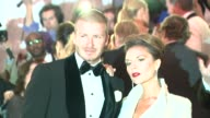 David Beckham and Victoria Beckham at the 'Superheroes Fashion and Fantasy' Costume Institute Gala at The Metropolitan Museum of Art at the...