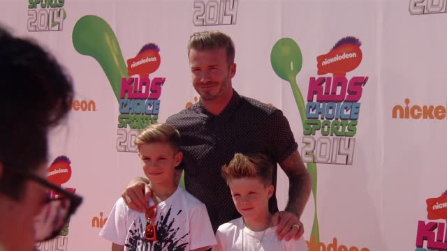 David Beckham Cruz Beckham and Romeo Beckham Nickelodeon Kids' Choice Sports Awards 2014 at Pauley Pavilion on July 17 2014 in Los Angeles California