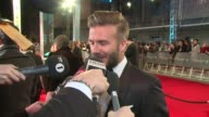 INTERVIEW David Beckham on being at the BAFTA Awards his favourite films and Harry Kane at The EE British Academy Film Awards London England February...