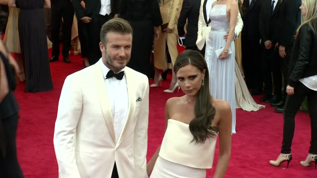 David Beckham Victoria Beckham at 'Charles James Beyond Fashion' Costume Institute Gala Arrivals at The Metropolitan Museum on May 05 2014 in New...
