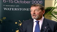 Gloucestershire Cheltenham INt David Blunkett interview SOT It's is not selfcongratulatory or a whinge / It's all about what I got wrong / Things I...