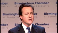 David Cameron addresses Birmingham Chamber of Commerce meeting David Cameron MP speech SOT And there are four of them First we've got an economy...