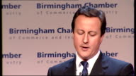 David Cameron addresses Birmingham Chamber of Commerce meeting David Cameron MP speech SOT I take a different view our banking system is not separate...