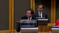 David Cameron addresses Welsh Assembly WALES Cardiff INT David Cameron MP into Welsh Assembly debating chamber with Rosemary Butler and others as...