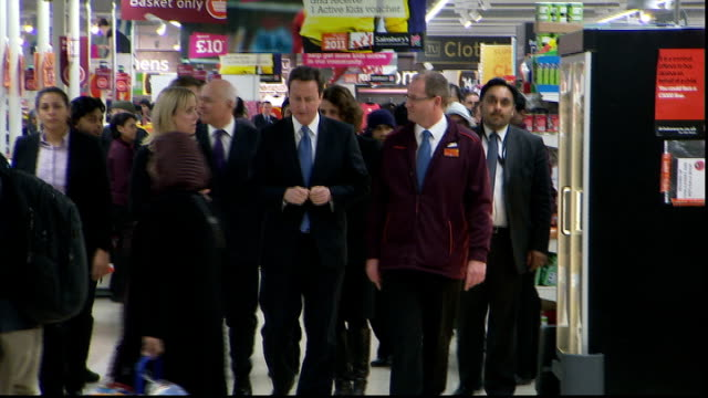David Cameron and Iain Duncan Smith visit Sainsbury's supermarket ENGLAND London PHOTOGRAPHY** David Cameron MP along in Sainbury's supermarket with...