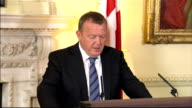 David Cameron and Lars Loekke Rasmussen Downing Street press conference Lars Loekke Rasmussen press conference SOT Great pleasure to meet Cameron/...