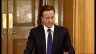 David Cameron and Nick Clegg joint press conference David Cameron answering questions SOT On giving the vote to prisoners / prison system is not...