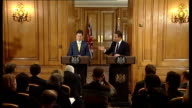 David Cameron and Nick Clegg joint press conference David Cameron answering questions SOT On NHS reforms / GP fundholders scheme being introduced...