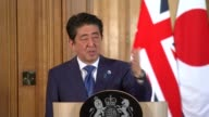 David Cameron and Shinzo Abe press conference David Cameron answers questions SOT re relations with China and Japan Shinzo Abe answers questions SOT...