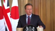 David Cameron and Shinzo Abe press conference ENGLAND London Downing Street INT David Cameron MP statement to press SOT Japanese trade in Britain...