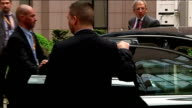 David Cameron arrives Brussels and comments on tax avoidance BELGIUM Brussels European Union EXT Convoy arrives / David Cameron MP out of car / David...