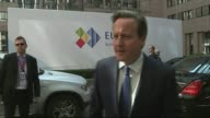 David Cameron arrives in Brussels BELGIUM Brussels EXT Car arriving / David Cameron MP out of car and speaking to press SOT We're going to have a...