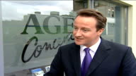 David Cameron arriving at Age Concern building in Hackney INT David Cameron MP interview SOT **Some loss of sound** We've got to make the most of our...