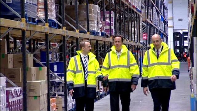 David Cameron at Morrisons supermarket distribution centre ENGLAND Kent Sittingbourne Morrisons Distribution Centre EXT Car pulls up and David...