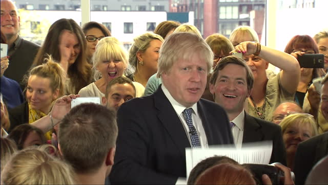 David Cameron Boris Johnson continue Tory campaign in Hendon Shows interior shots Boris Johnson speaking to crowds deriding Ed Miliband for being...