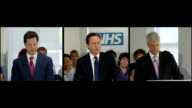 David Cameron defends NHS health reforms ENGLAND Surrey Camberley INT David Cameron MP Nick Clegg MP and Andrew Lansley MP into NHS presentation to...