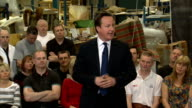David Cameron holds PM Direct session in Long Eaton ENGLAND Nottingham Long Eaton Duresta Upholstery INT David Cameron MP arriving / introductory...