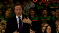 David Cameron hosts PM Direct event at Mini factory Cameron Question and Answer session SOT Close shot Cameron's hands
