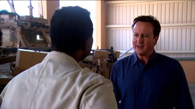Camp Bastion INT David Cameron MP interview SOT