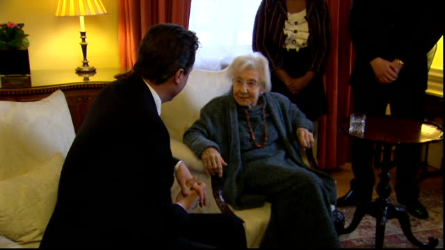 David Cameron meets Auschwitz survivor and signs Book of Commitment ENGLAND London Downing Street EXT Arrivals at Number 10 for meeting with Prime...