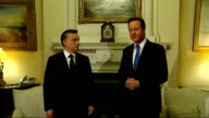 David Cameron meets Hungarian Prime Minister ENGLAND London Downing Street PHOTOGRAPHY ** David Cameron MP entering room followed by Victor Orban...