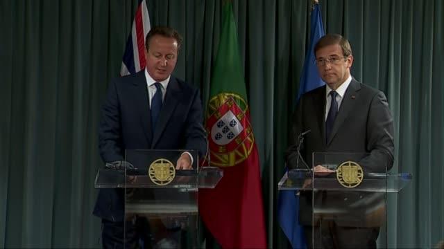 David Cameron meets Portuguese Prime Minister Portuguese Prime Minister Pedro Passos Coelho speaking SOT / Prime Minister David Cameron MP press...