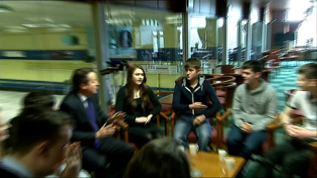 David Cameron meets young people in Dumfriesshire SCOTLAND Dumfriesshire INT Various shots of David Cameron MP chatting to young people sitting in...