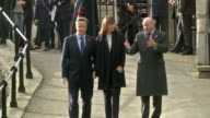 David Cameron plants poppy at Tower of London poppy installation David Cameron MP along by railings with wife Samantha Cameron and General Lord...