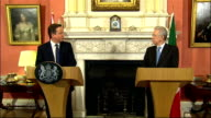 David Cameron press conference with Italian Prime Minister ENGLAND London Downing Street PHOTOGRAPHY *** David Cameron MP into room for press...