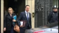 David Cameron rules out third term as Prime Minister if reelected LIB London Downing Street EXT David Cameron MP departing Number 10 and along to car...