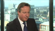 David Cameron speaking about methods to tax the wealthy during an interview at the 2014 Conservative Party Annual Conference