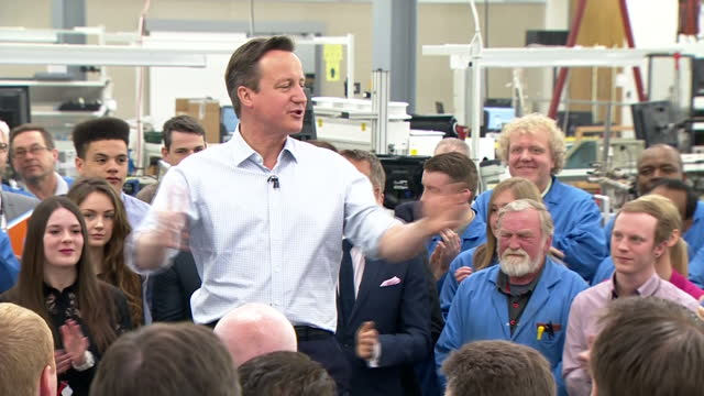 David Cameron speaks to staff at Kelvin Hughes Shows interior shots David Cameron being introduced to the audience by Kelvin Hughes CEO Russel Gould...