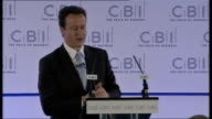 London INT David Cameron MP along to podium/ David Cameron speech SOT It's a good time to talk about economic issues and a good time for action on...