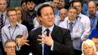 David Cameron speech at PM Direct event in Glasgow SCOTLAND Glasgow Thales UK INT David Cameron MP speech SOT On being winched onto HMS Victorious /...