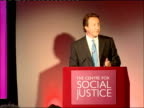 David Cameron speech at the Centre for Social Justice ENGLAND London Westminster Queen Elizabeth II conference centre INT David Cameron MP up to...