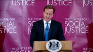 David Cameron speech on crime and justice ENGLAND London The Centre for Social Justice INT David Cameron MP speech SOT **Speech transcript check...